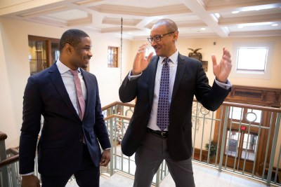 Professors Brandon Terry (left) and Tommie Shelby discuss a new book they co-edited on the legacy of Martin Luther King Jr.'s political thought.