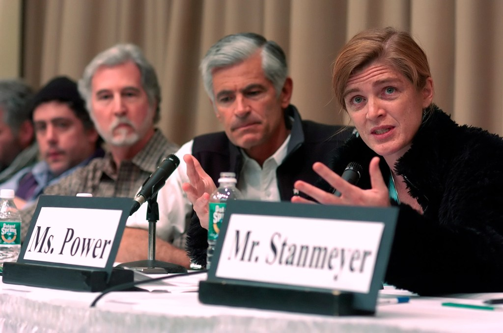 "Ambassador Power speaks during ""Photojournalism and Human Rights,"" a panel discussion held as part of ""The First Annual VII Seminar,"" April 17, 2005. Harvard File Photo"