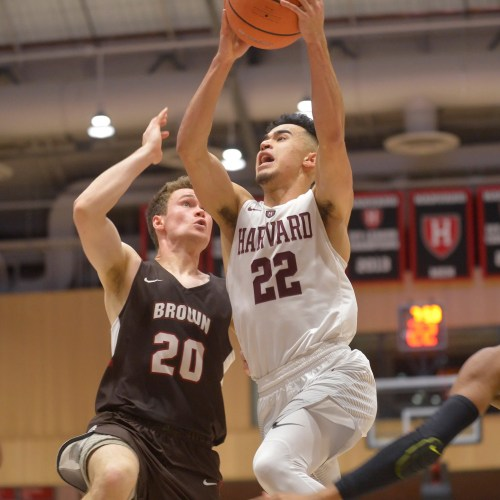 Crimson guard Christian Juzang '20 goes up for two of his career-high 21 points. Crimson beat Brown, 65-58.