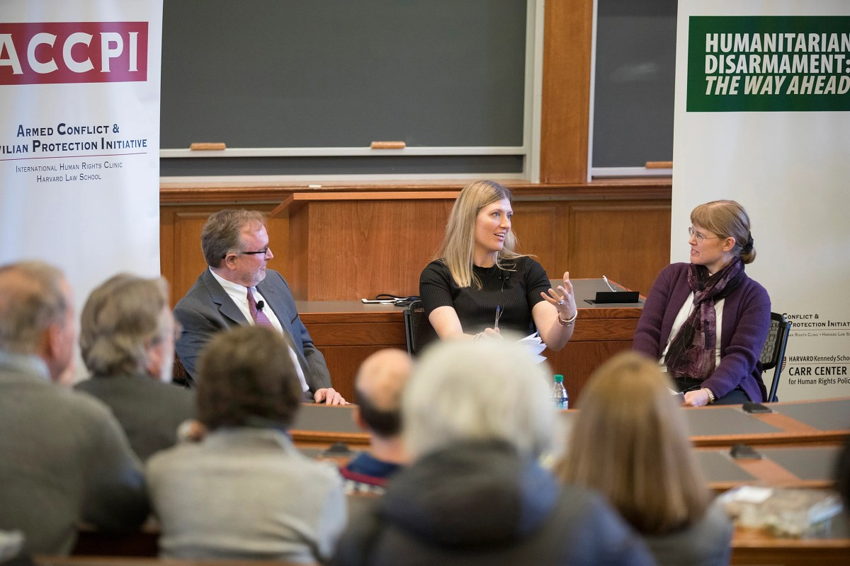 "During ""From Landmines to Nuclear Weapons,"" a panel featuring Steve Goose (from left) and Beatrice Fihn and moderated by Bonnie Docherty of the Law School addressed the origins and evolution of humanitarian disarmament while reflecting on their roles negotiating treaties that ban landmines, cluster munitions, and nuclear weapons."