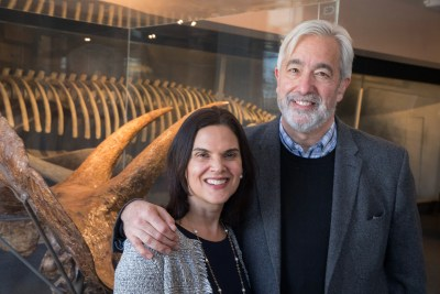Newly appointed Faculty Deans for Leverett House, Brian Farrell and Irina Ferreras tour the Harvard Museum of Natural History.