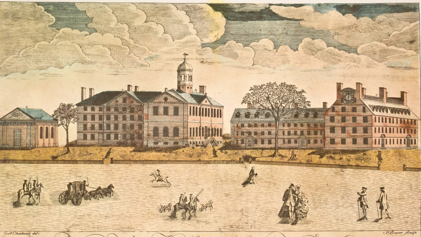 Westerly view of the Colledges in Cambridge, New England, Paul Revere, 1767.
