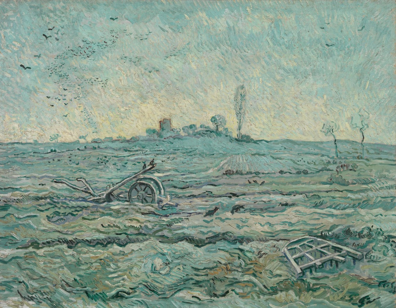 Vincent van Gogh, Snow-Covered Field with a Harrow (after Millet),