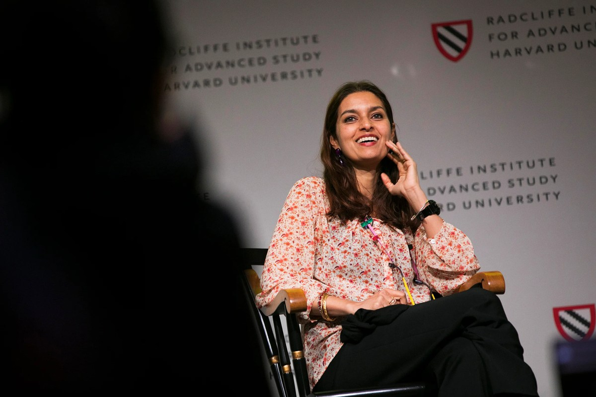 "Jhumpa Lahiri (pictured) and Celeste Ng discuss immigrant identity during the keynote conversation at Radcliffe's annual conference on gender, ""Who Belongs? Global Citizenship and Gender in the 21st Century."""