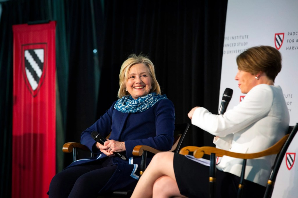 Hillary Clinton has a wide-ranging conversation with Massachusetts Attorney General Maura Healey '92. Stephanie Mitchell/Harvard Staff Photographer