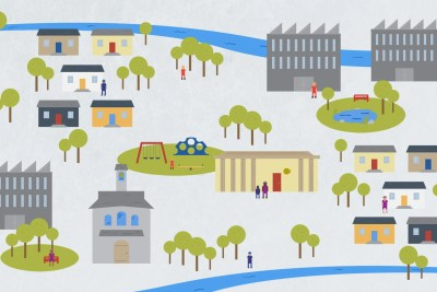 An illustration of a community with houses, business and parks.