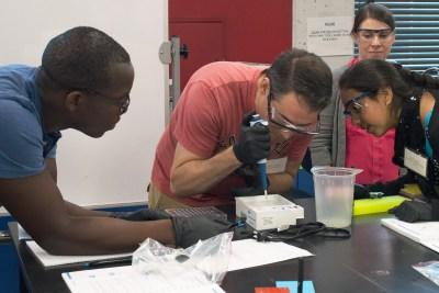 Amgen Biotech Experience teachers work in the lab.