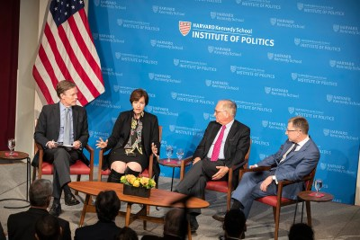 In a Kennedy School panel discussion, Nick Burns (from left), Susan Glasser, Wolfgang Ischinger, and Kurt Volker assessed the deeply strained relationship between the U.S. and Europe.