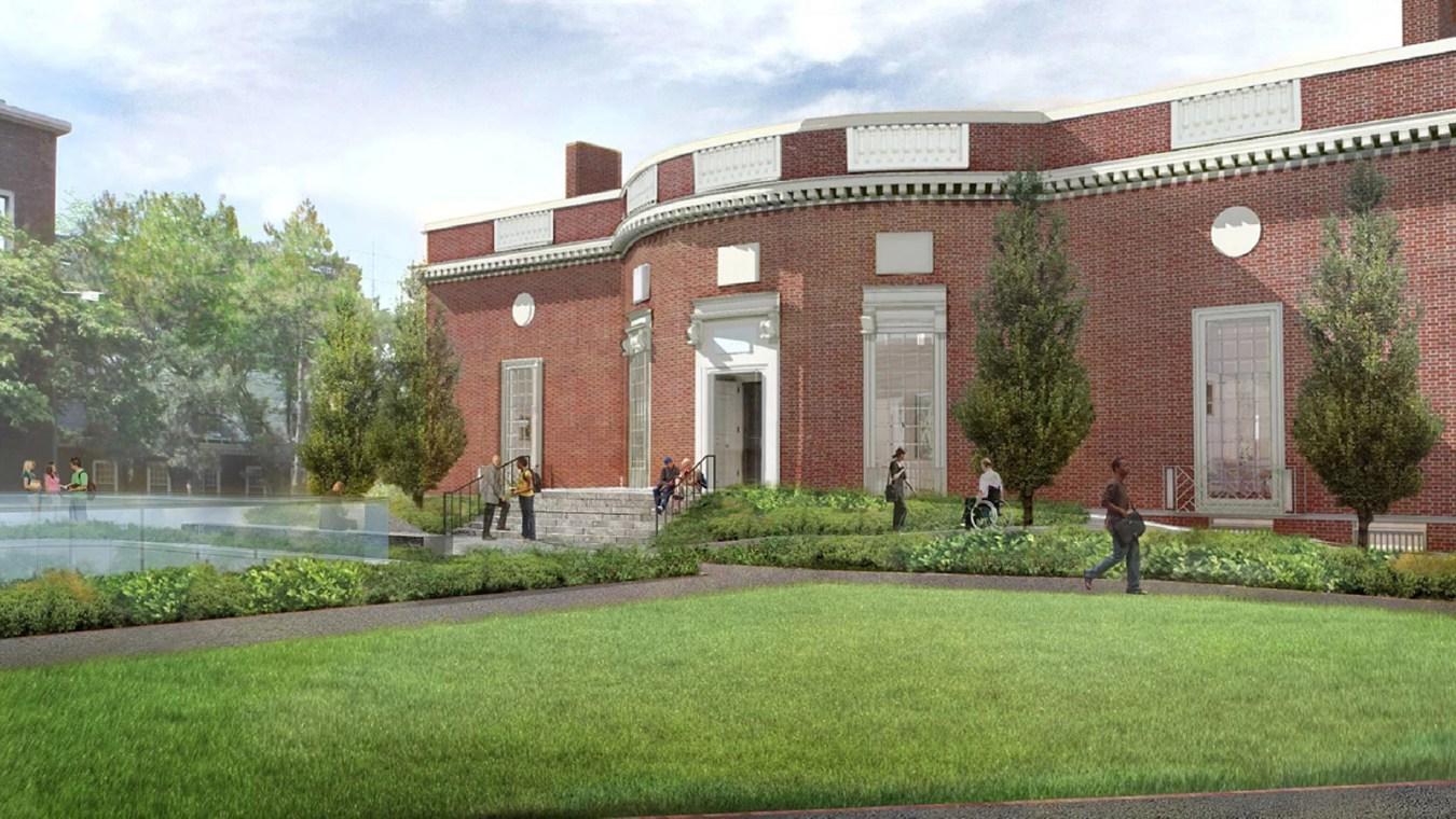 Rendering of Houghton Library showing ramped entrance, landscape design.