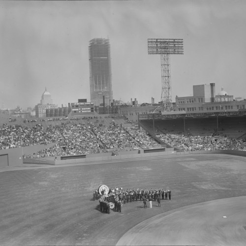 Harvard University band on the field at Fenway Park in 1963.