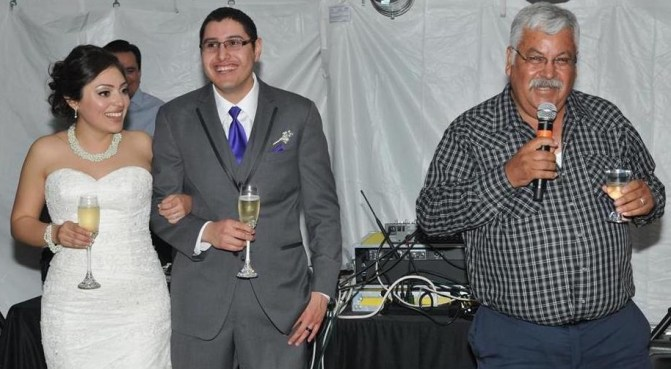 Javier Arias (far right) at the wedding of nephew Edgar Martinez, before he changed his diet. (Photo courtesy of Javier Arias)