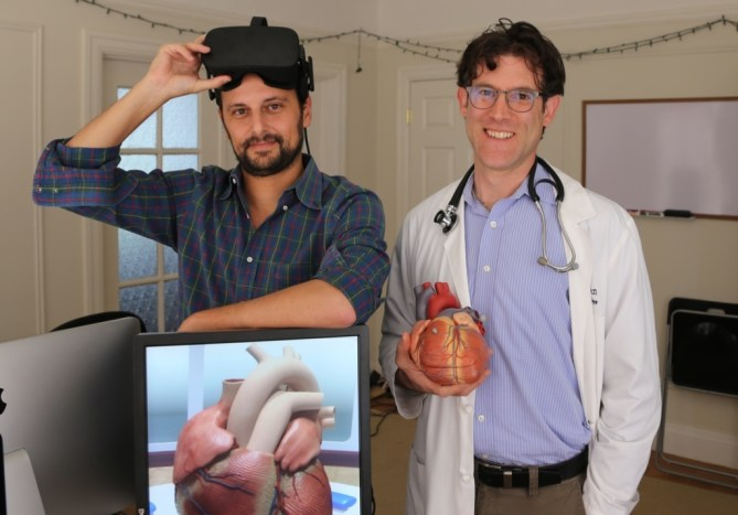 Dr. David Axelrod (right) of Stanford University School of Medicine and David Sarno, founder of Lighthaus, Inc., which created the Stanford Virtual Heart. (Photo courtesy of David Axelrod)