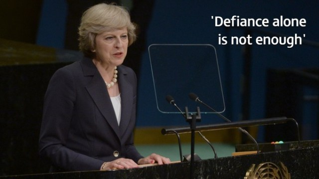 The PM will use her platform at the UN to call on web giants to go 'further and faster'.