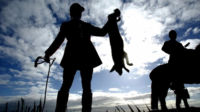 A huntsman holds up a fox killed by the Durham Hunt in 2005, before the ban came into force.