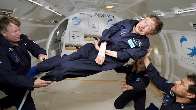 Hawking experiences a zero-weight moment during a flight on a Zero Gravity jet, above Orlando, FL, USA on April 26, 2007.