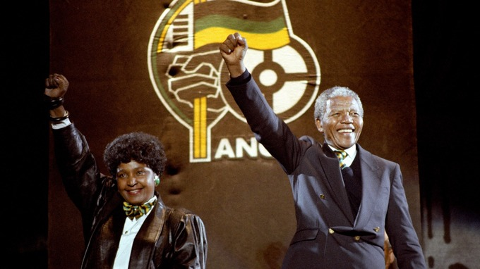 Winnie and Nelson Mandela in 1990.