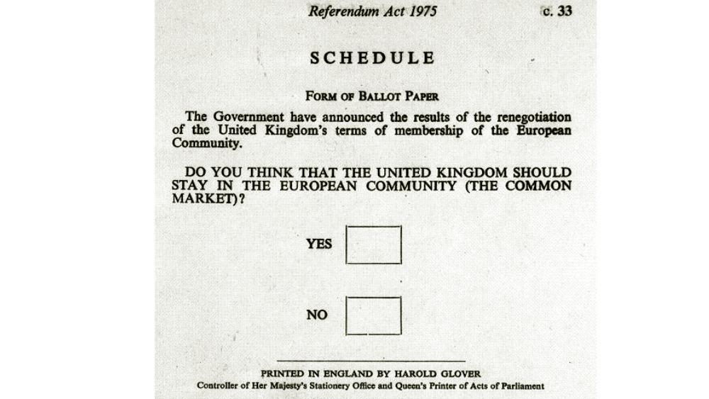 Hasil gambar untuk 1975 referendum ballot paper