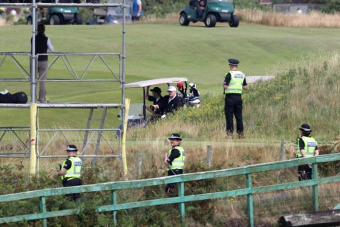 Police keep watch as Mr Trump plays golf at Turnberry