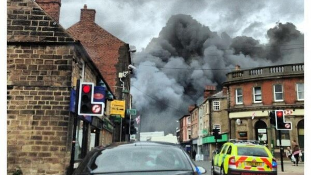 Thick black smoke covers Belper  Central  ITV News
