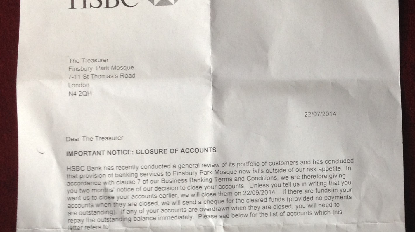 Letter Shows Finsbury Park Mosque Account Closure London Itv News