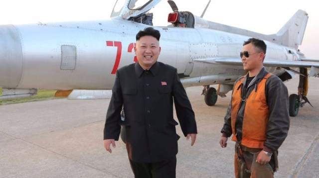 Kim Jong un and a fighter jet