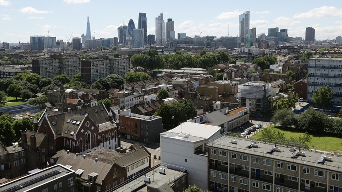 Social housing in Tower Hamlets, with the City of London in the background.
