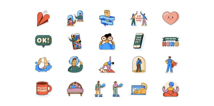 whatsapp together at home stickers