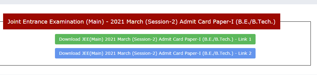 JEE MAINS March 2021 Session 2 admit card