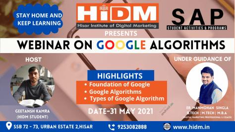 Webinar on Google Algorithms  | Online Digital Maketing Course in Hisar