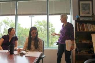 Carolyn Bninski talking to Danielle Henry