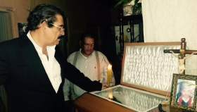 Former President Manuel Zelaya attends the funeral for Soad Ham Bustillo who was assassinated after a student protest in which she participated.