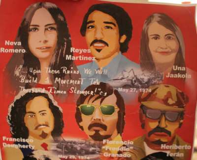Those killed in the two bombings in left to right order: Neva Romero, Reyes Martinez, Una Jaakoka, Francisco Dougherty, Francisco Granado, Heriberto Teran photo: from poster created for 40th anniversary of the bombing of Los Seis