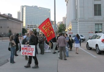 Eric Verlo protests the Denver City Council vote to approve the Urban Camping Ban on May 12,2012