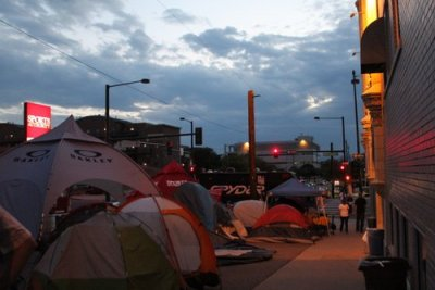 Tents set up outside of Sports Authority September 1, 2012 to protest selective enforcement of the newly adopted Urban Camping Ban.