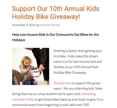 community cycles bike giveaway