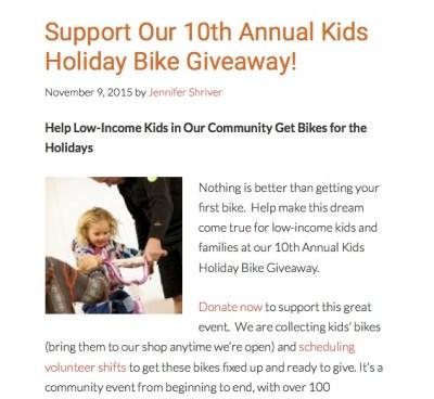 community cycles bike giveaway