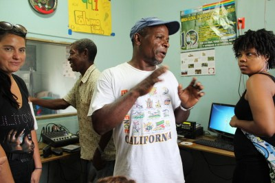 In 2011 Alfredo Lopez gives an international delegation a tour of the Faluma Bimetu radio station.