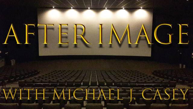 "A blank movie screen in a cinema with the title ""After Image with Michael J. Casey"" on top."