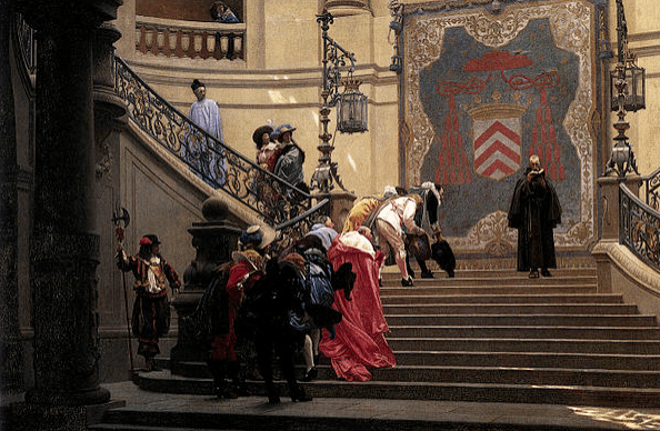 François Leclerc du Tremblay is the figure in black, together with red-cothed Cardinal Richelieu, depicted descending the staircase in this oil painting (1873) by Jean-Léon Gérôme.