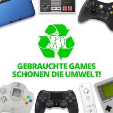 Gebrauchte Konsolen und Spiele schonen die Umwelt!