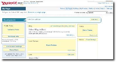 Startseite von Yahoo 360