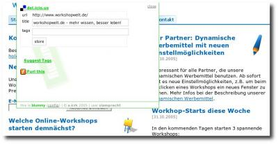 Das Bookmarklet in Aktion