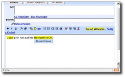 Screensot GMail Rechtschreibprüfung
