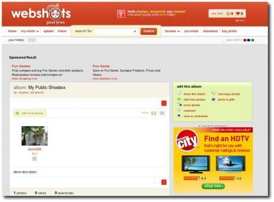 Oberfläche webshots.com