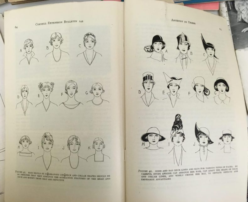 Pages of a booklet showing sketches of women's hairstyles and hat shapes