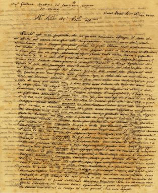 An 1820 letter written by Vincentian missionary Felix De Andreis