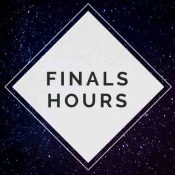 Finals Hours (white triangle overlapping dark sky background)