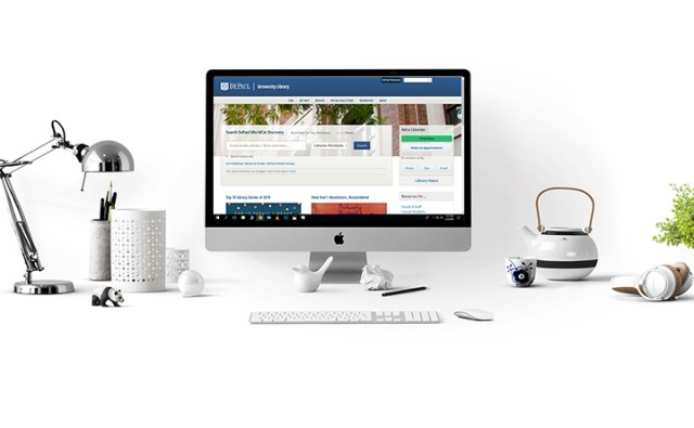 Image of Library Website on a mac computer with white background and white objects including a teapot, pencil holder and panda.