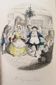 Frontispiece showing people dancing and celebrating at Fezziwig's Ball from the seventh edition of A Christmas Carol, 1844.