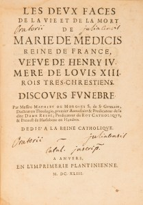 Image showing the title page of the book Les Deux Faces de la vie et de la mort de Marie de Medicis..., 1643